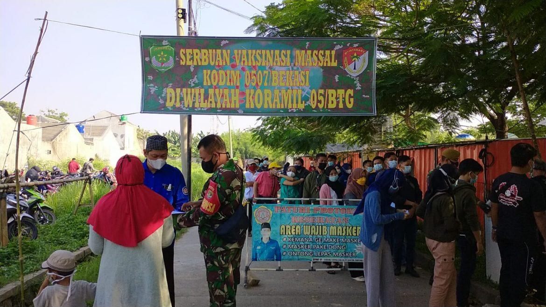 Serbuan Vaksinasi Koramil 05/Bantargebang Sasar 2000 Orang