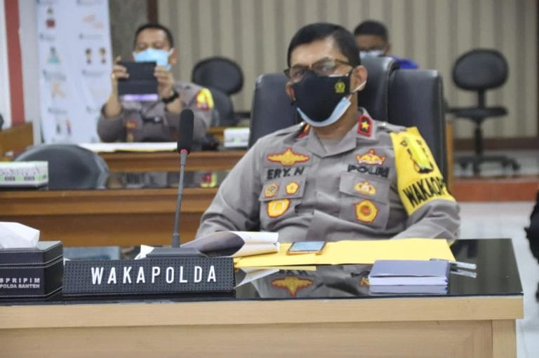 Polda Banten Rapat Koordinasi PPKM Wilayah Jawa-Bali Melalui Aplikasi Zoom Meeting