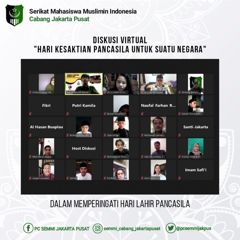 Serikat Mahasiswa Muslimin Indonesia (SEMMI) adakan Diskusi dengan Tema Kesaktian Pancasila Melalui Zoom Meeting